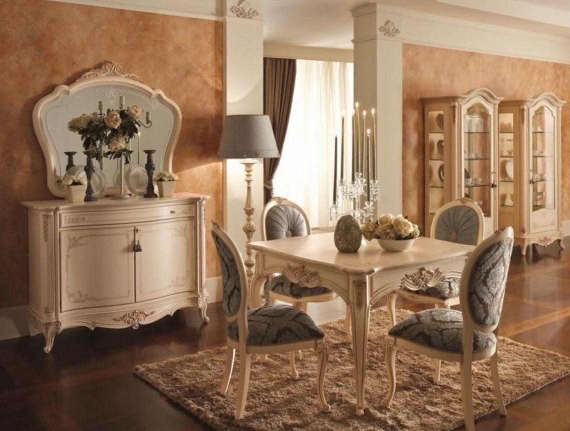 Comedor de estilo isabelino con decoración tallada y
