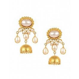 Jhumka Earrings with Pearls by Shubhi Kansal Shop now Luxe