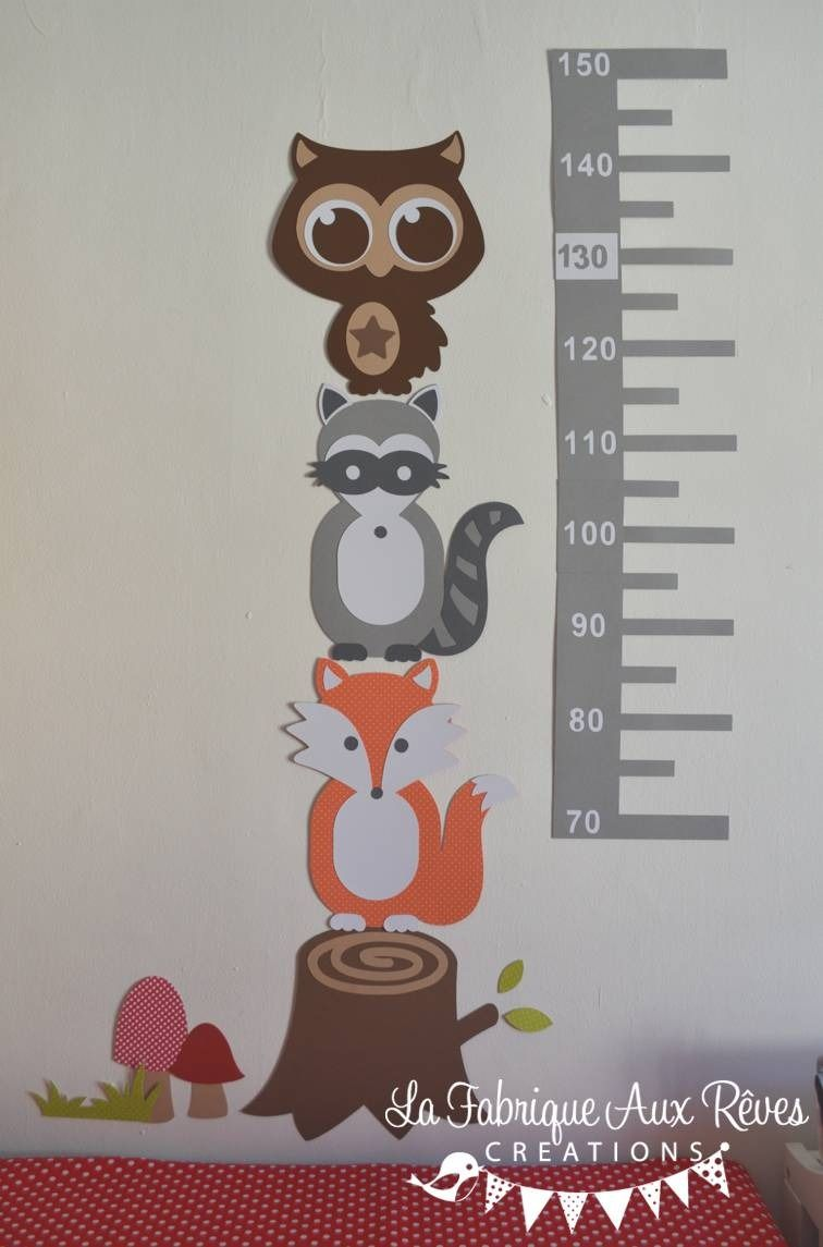 Dispo - Stickers toise adhésive thème forêt - renard hibou