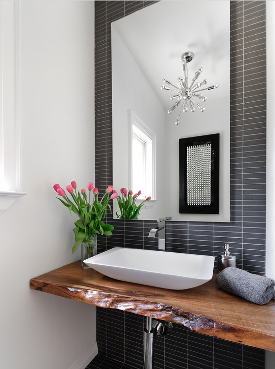 Upscale Urban Rustic Bathroom With Rectangular Vessel Sink Live Edge Wood Counter And Sleek