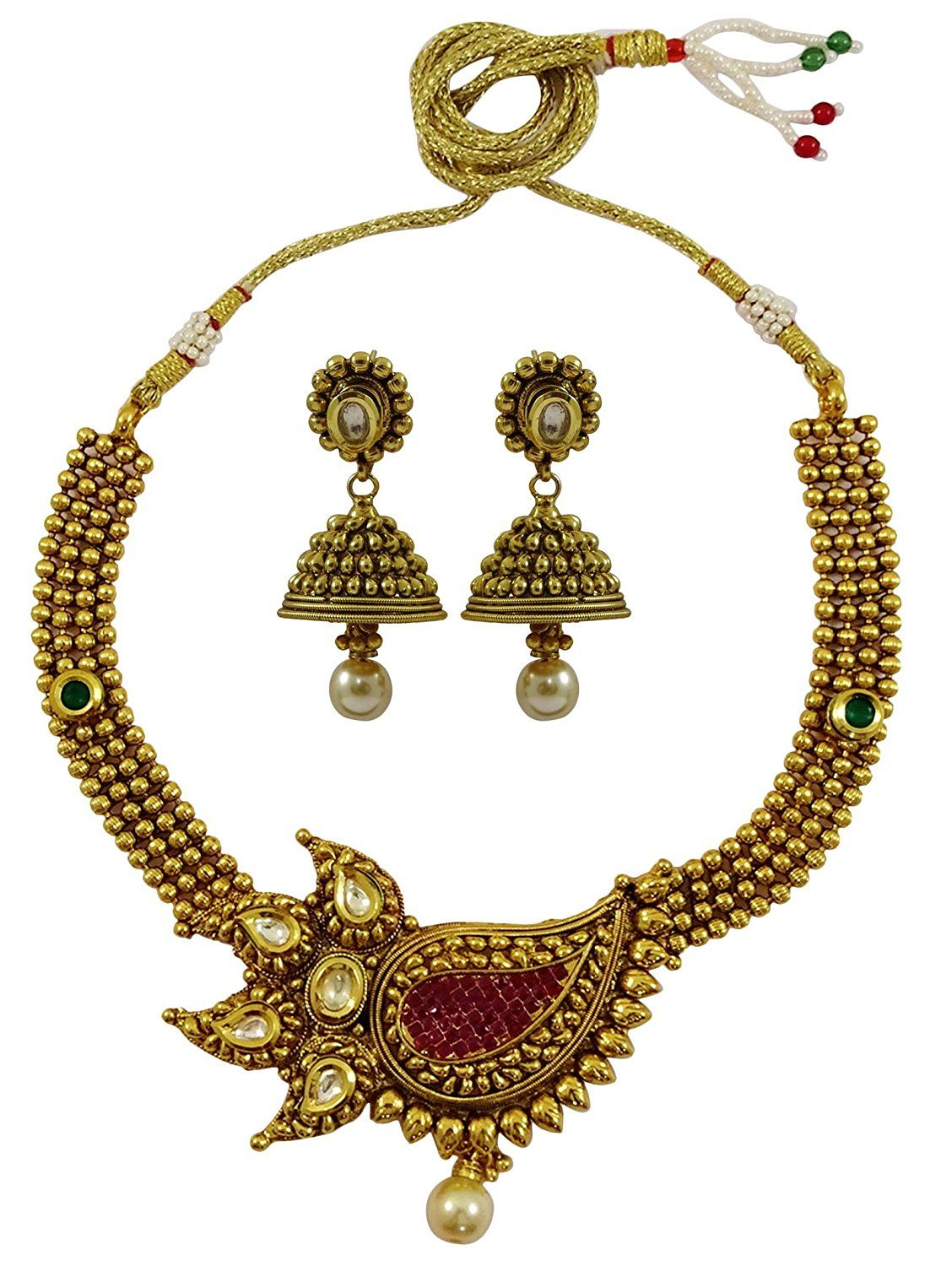 Matra goldtone indian women traditional pcs necklace earring set