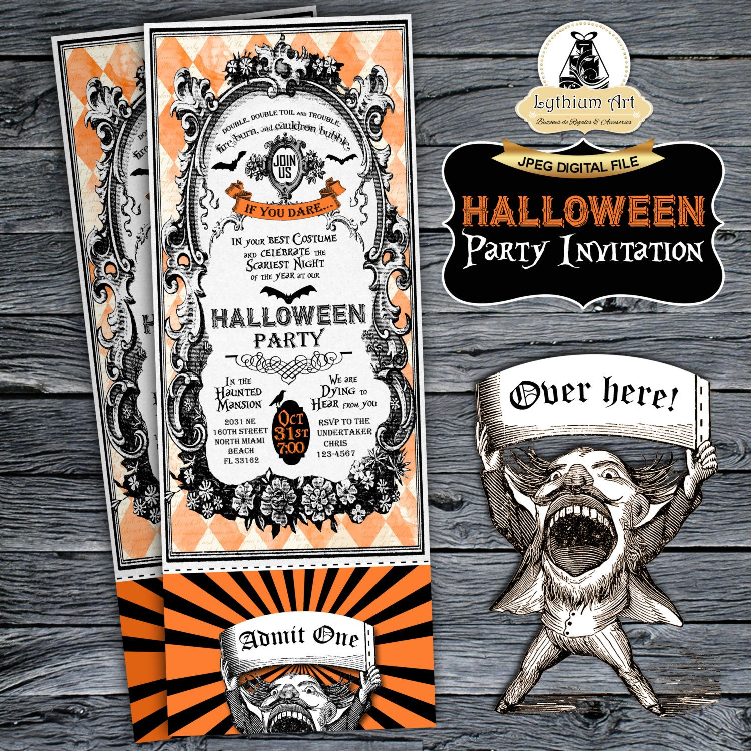 Halloween Ticket Invitation - Halloween Party Invitation - Halloween ...