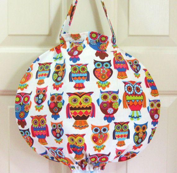 Homemade Owl Design Fabric Plastic Grocery Bag Holder