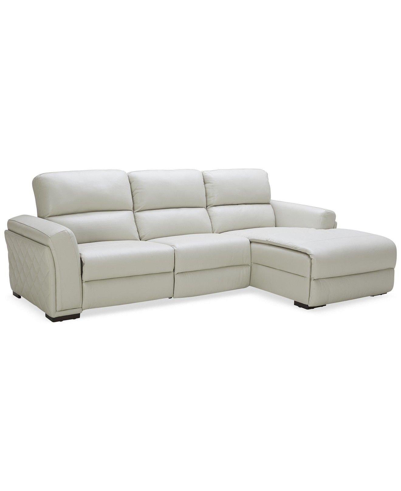 Jessi Quilted Side Leather 6-Piece Sectional Sofa with 6 Power