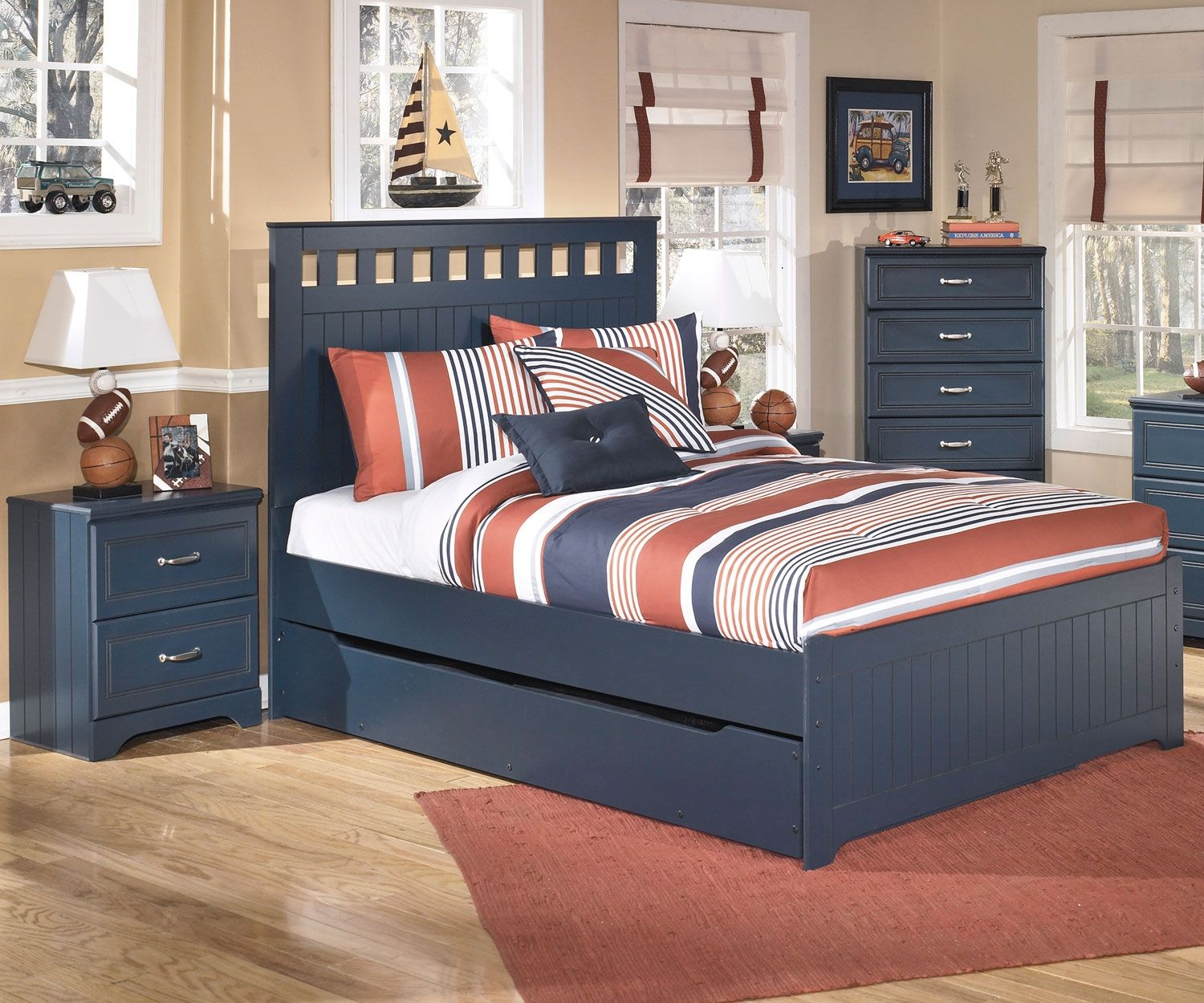 Leo Panel Bed With Trundle Full Size By Ashley Furniture