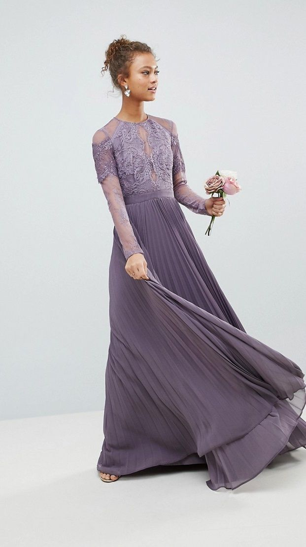 Long Sleeve Lavender Bridesmaid Dress | Brides, Grooms, Weddings ...