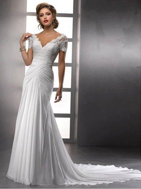 Sheath Column V Neck Lace Short Sleeves Chiffon Wedding Dresses Ruching Lace Wedding Dress Short Sleeve Wedding Dress V Neck Wedding Dress Wedding Dresses