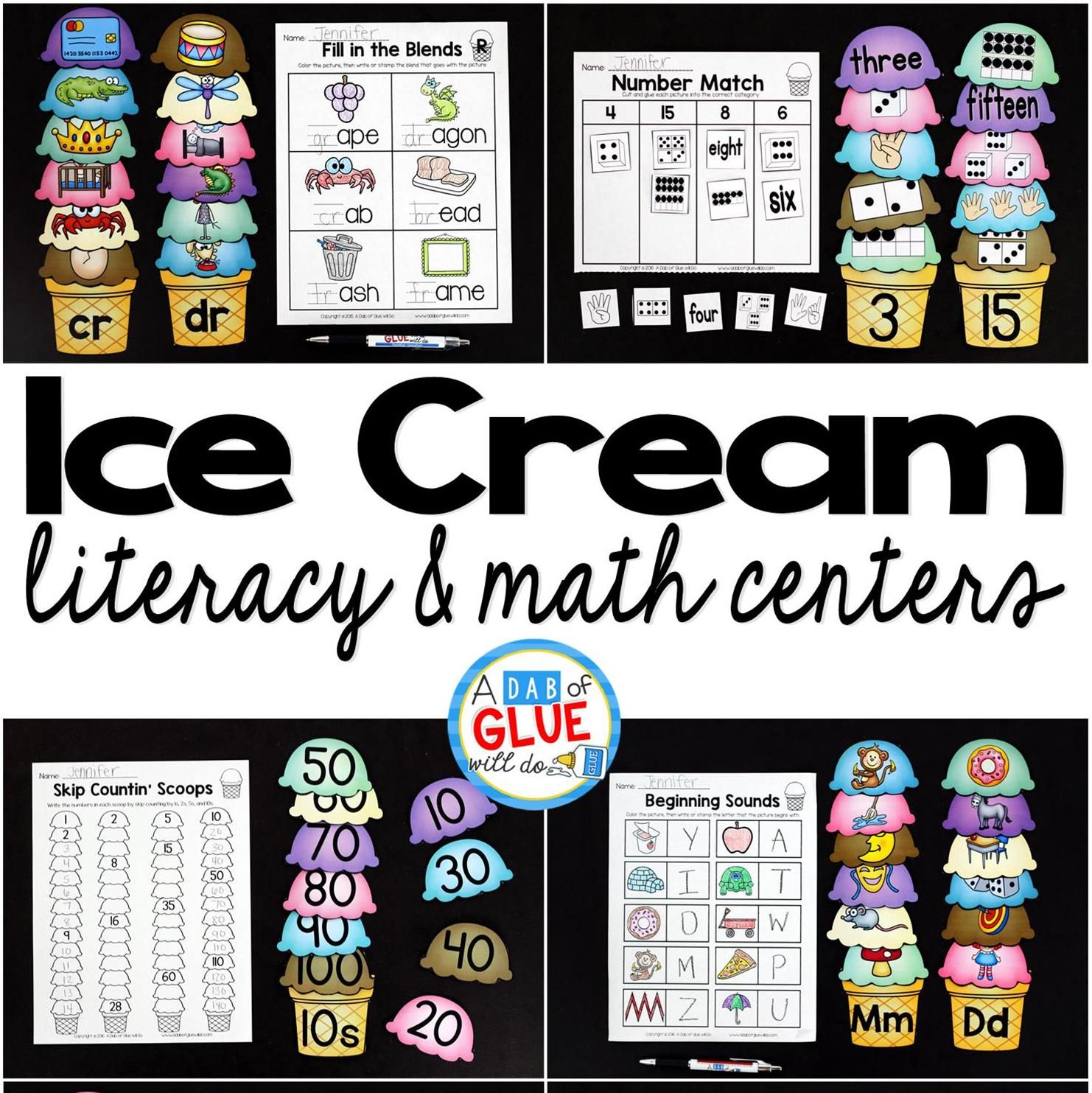 Ice Cream Ccvc Match Up Printable With Images
