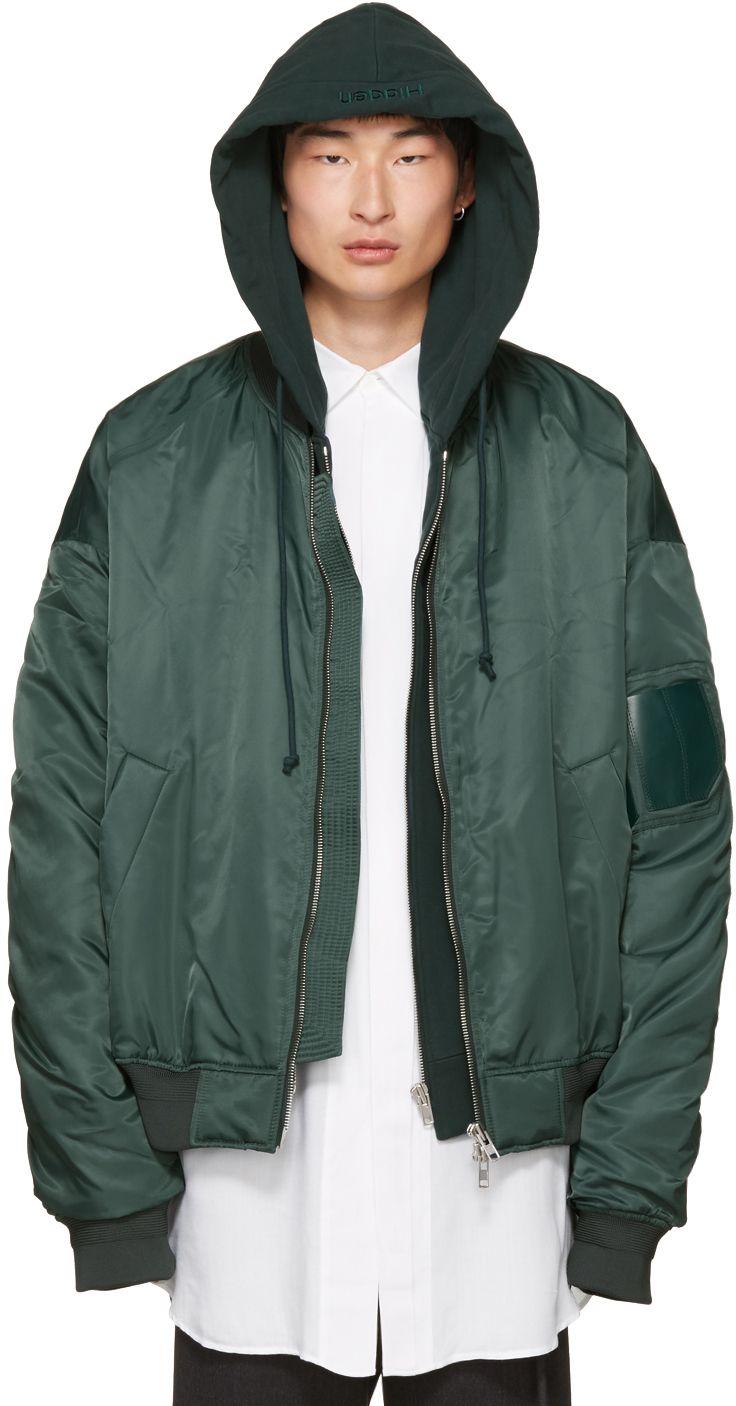 Juun J Green Hooded Bomber Jacket Hooded Bomber Jacket Jackets Bomber Jacket [ 1406 x 736 Pixel ]