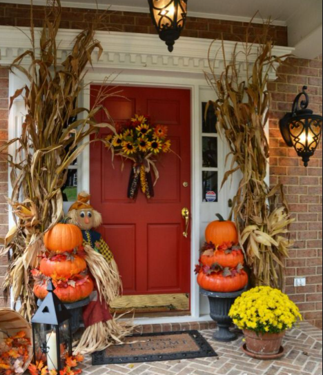 Warm Welcome In 2020 Fall Decorations Porch Fall Outdoor Decor Front Door Fall Decor
