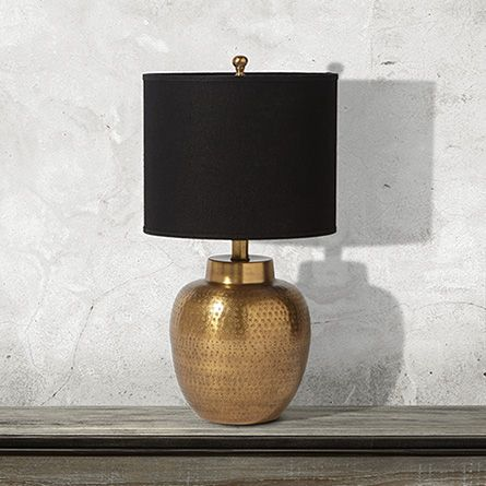 Orissa small brass table lamp with natural shade arhaus furniture
