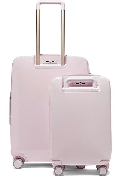 Pastel-pink Makrolon® polycarbonate Combination lock fastening, zip fastening along top and sides Comes with dust bag The A22 carry-on weighs approximately 8.4lbs/ 3.8kg The A28 suitcase weighs approximately 13lbs/ 5.9kg Imported