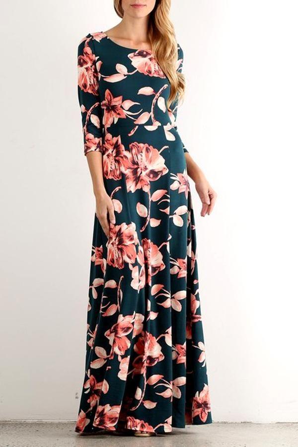 Winter Blossom Maxi Dress-Hunter Green