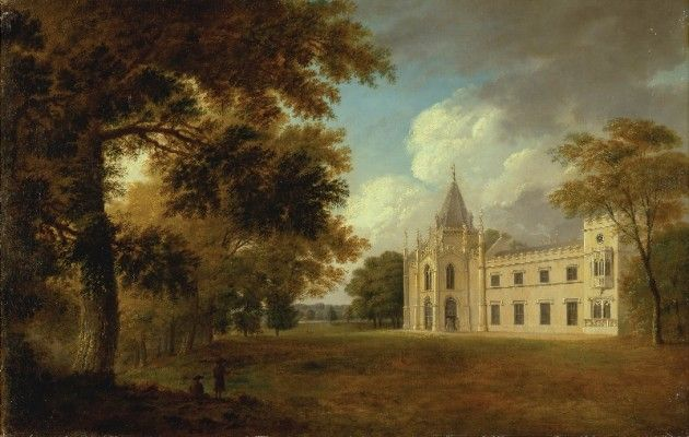 View of the south façade of Lee Priory, Kent, by John Dixon. 1785.