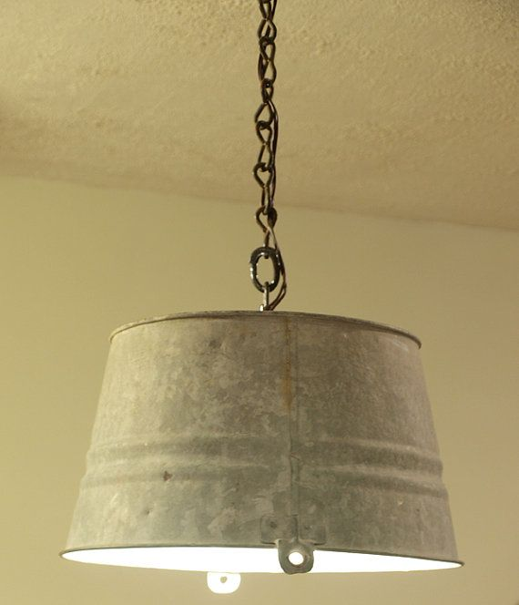 Items Similar To Galvanized Light Rustic Industrial: Upcycled Vintage Galvanized Silver Bucket Pendant Light