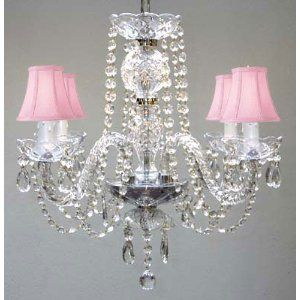 Crystal Chandelier With Pink Shades