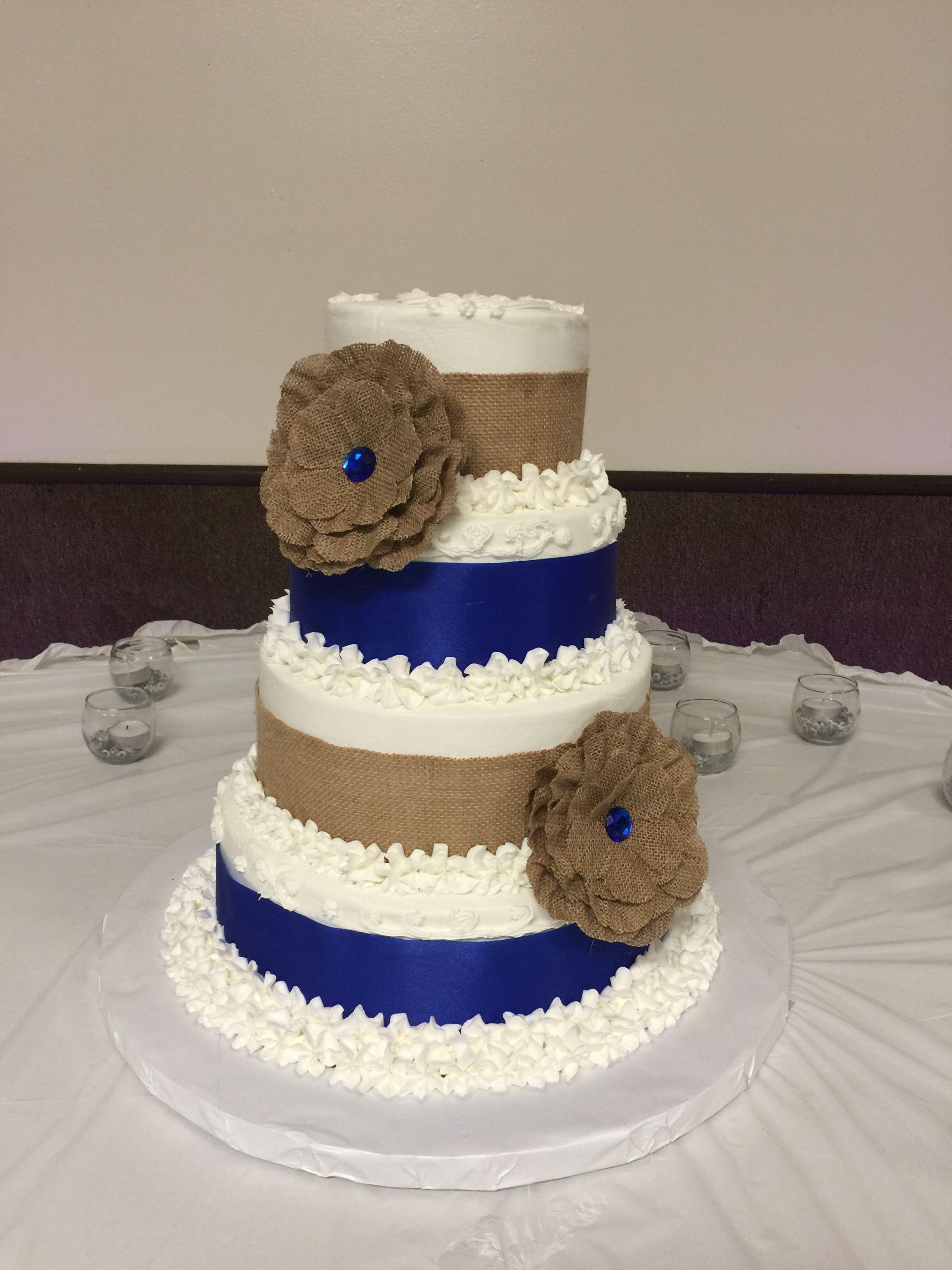 Royal Blue And Burlap Wedding Cake Kallalkreations