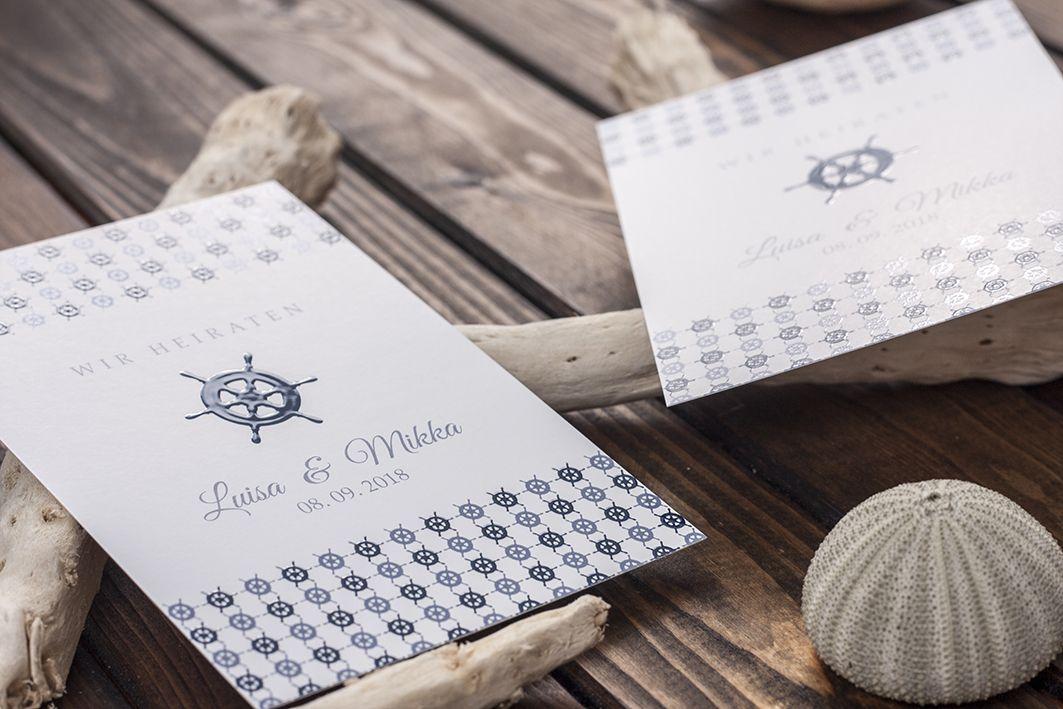 Maritime Einladungskarte Mit Lack Veredelt Maritime Hochzeitskarte