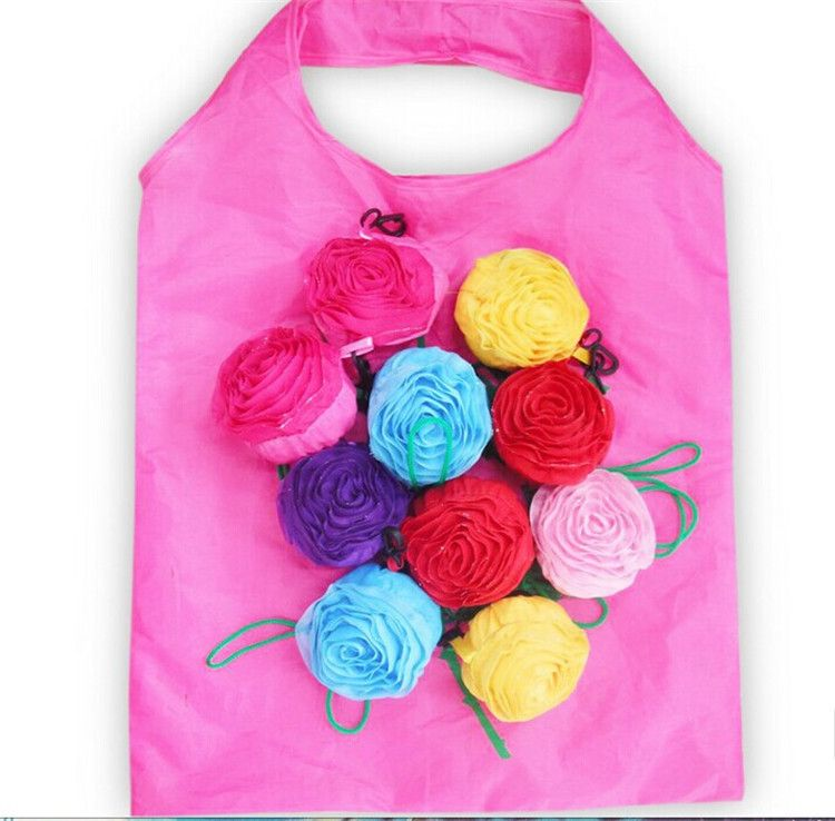 Rose Ping Bag New Fashion Reusable Recycle Environmental Tote Folding Grocery Suppping Bags Whole Drop Shipping