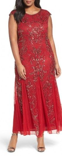 Plus Size Red Pisarro Nights Beaded Gown Perfect For An Elegant Wedding Beaded Gown Lace Dress Fancy Frocks