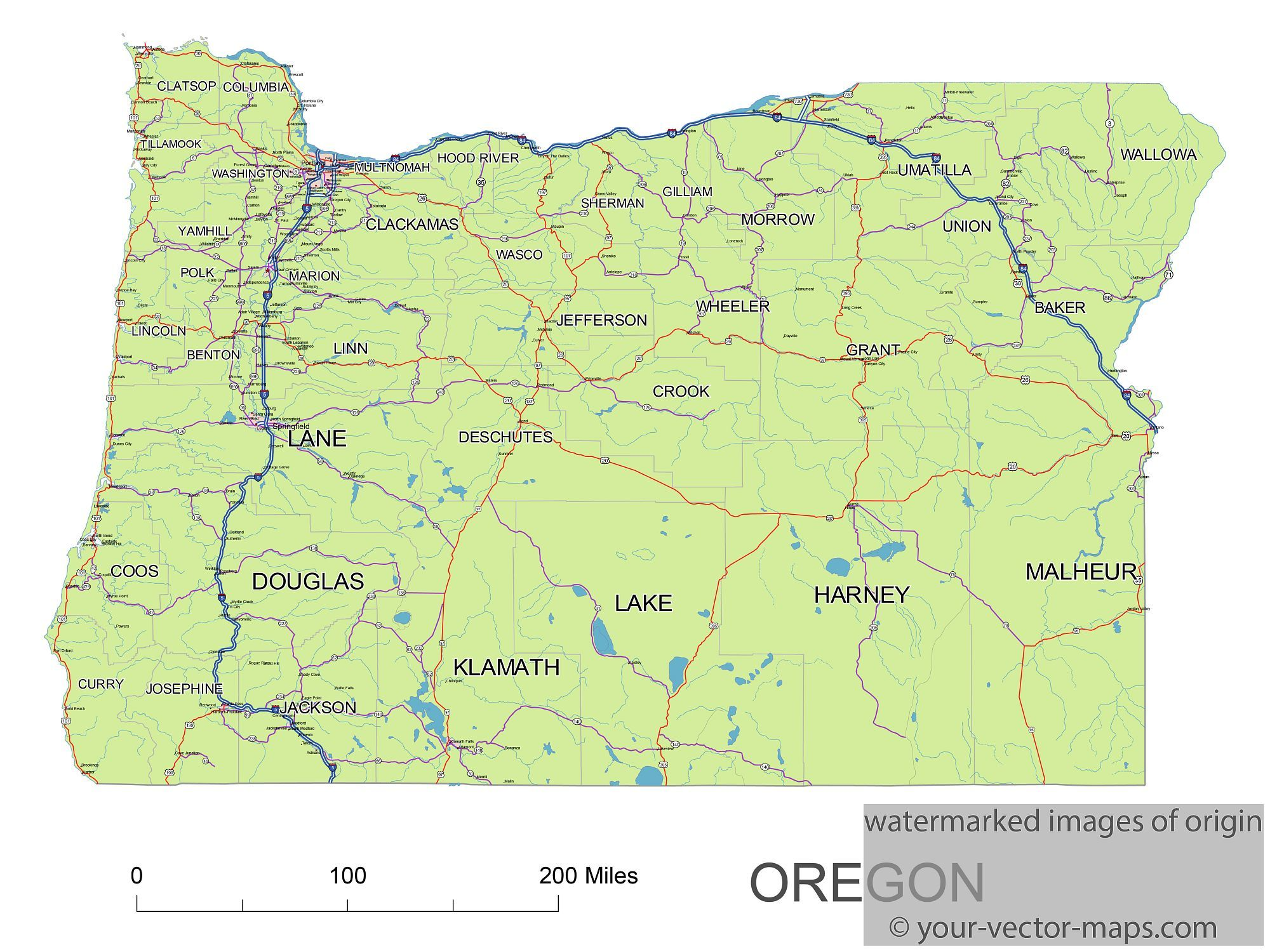 Oregon State Route Network Map Oregon Highways Map