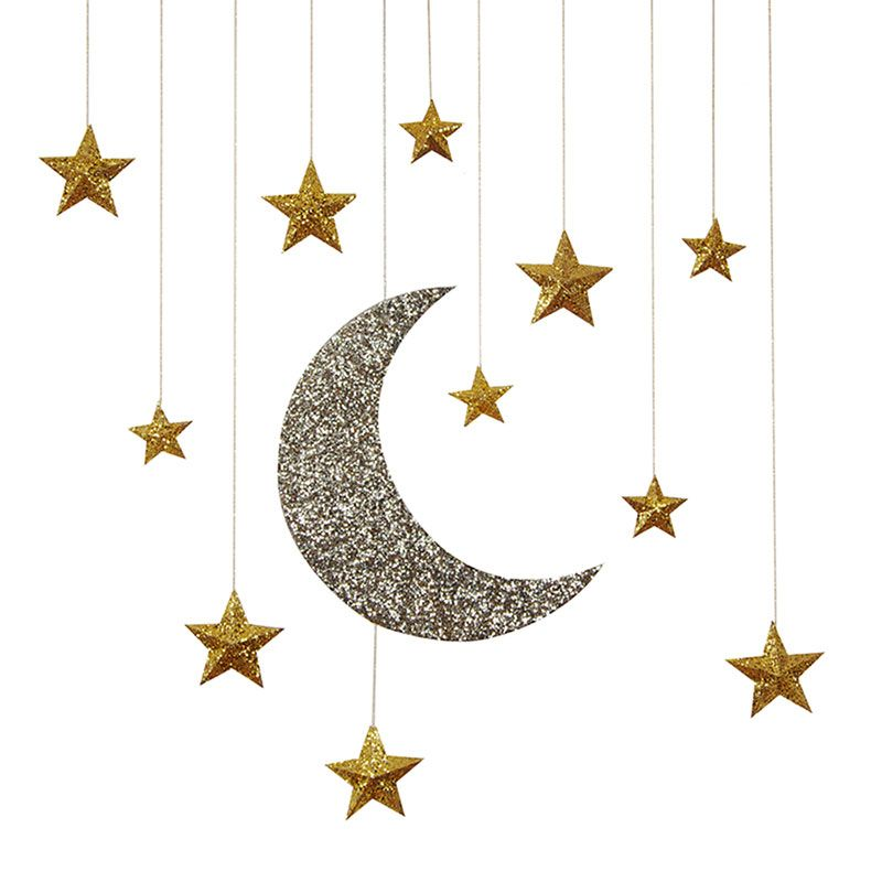 Hanging moon and stars decorations diy paper crafts for Moon and stars crafts