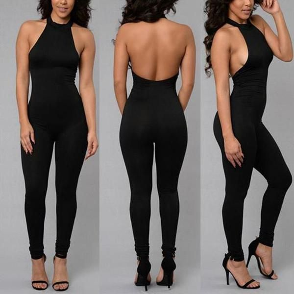 3998f3ead5d Women s Sexy Backless Clubwear Tight Jumpsuit Sleeveless Rompers Black  Bandage Playsuit Full Pants