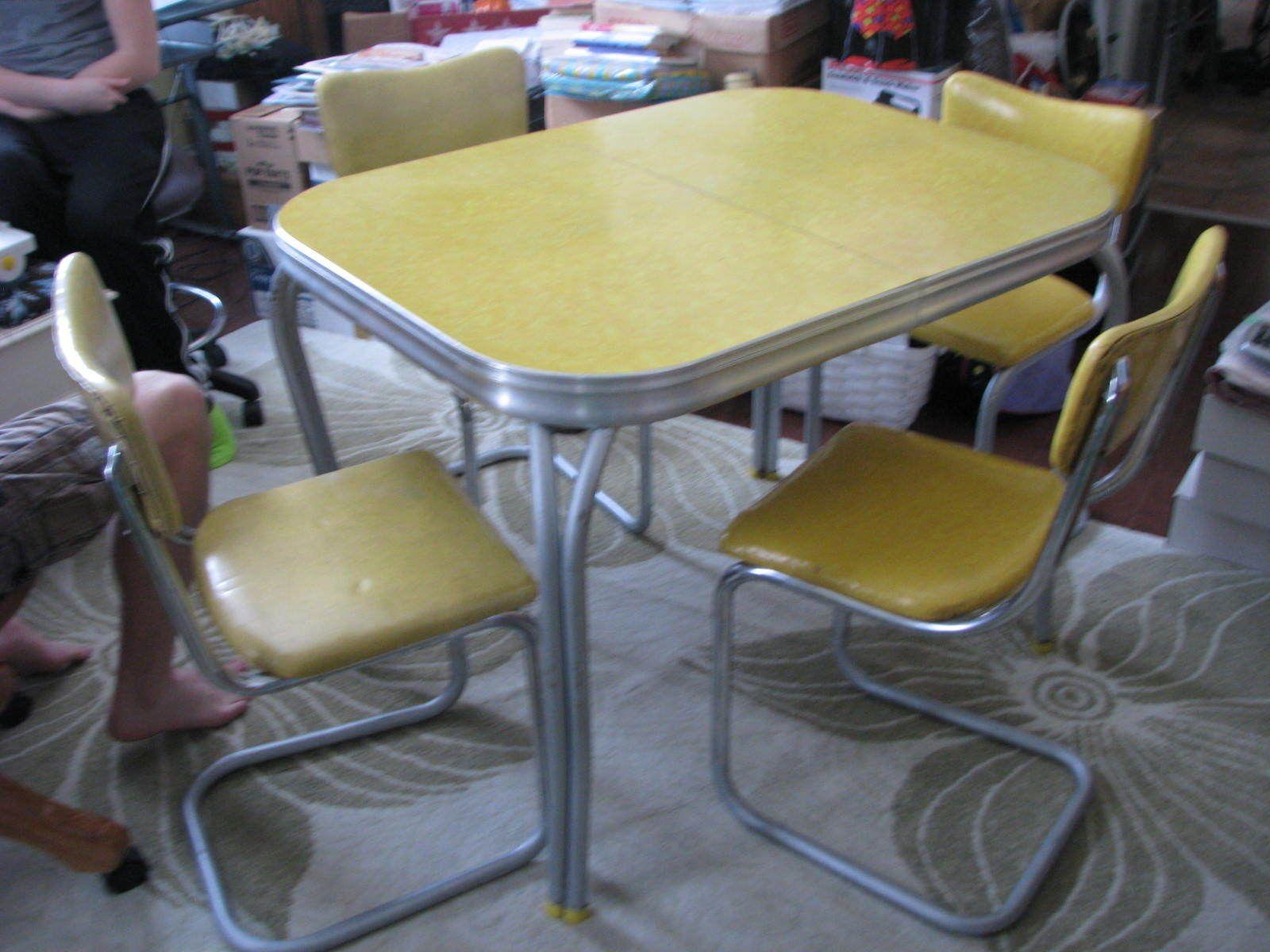 1950s retro vintage yellow chrome formica kitchen table