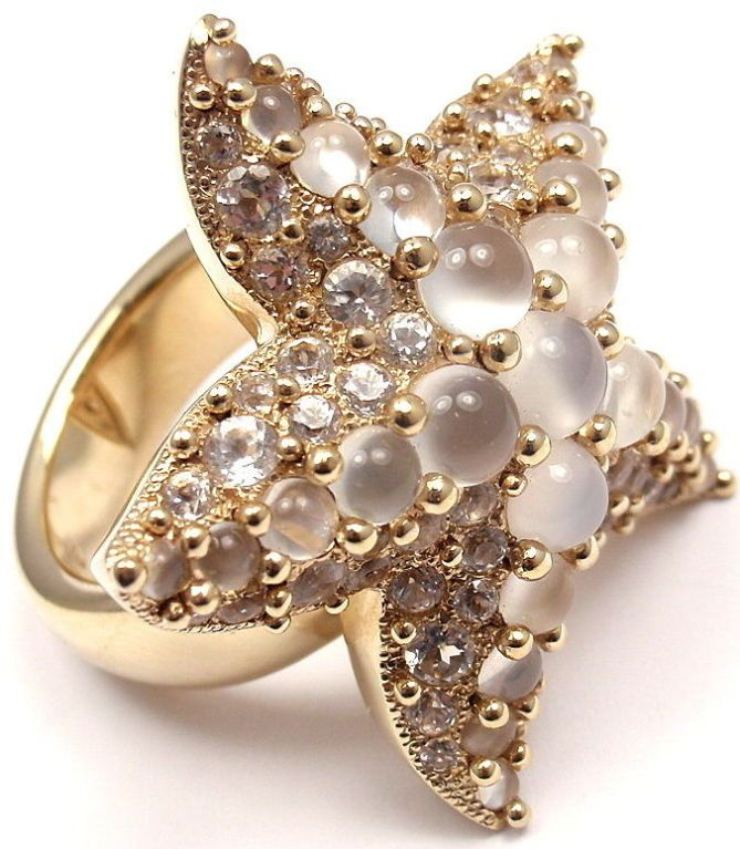POMELLATO Sirene Moonstone Starfish Yellow Gold Ring
