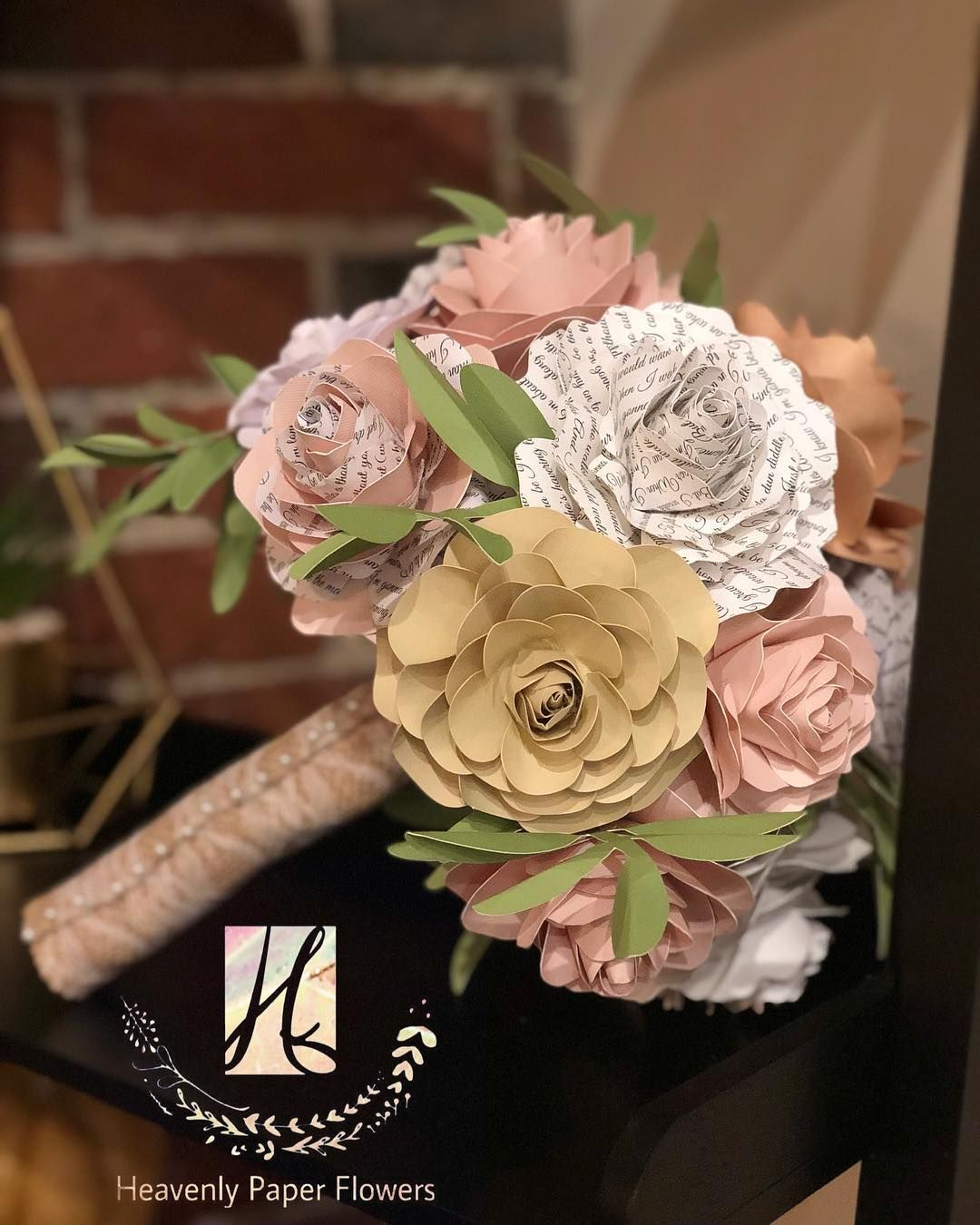 A Beautiful Bouquet Of Paper Flowers Made From Recycled Paper