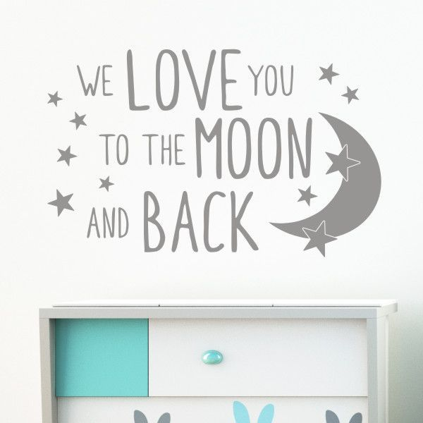 Wall sticker design we love you to the moon and back sizes available small 58cm w