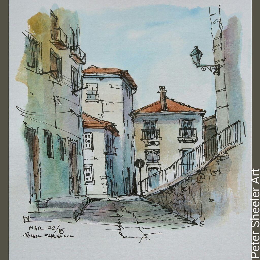 Painted on location in Porto Portugal. A nice, simple street in ... for Simple Street Painting  239wja