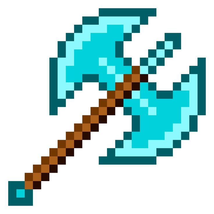 My Double Blades Minecraft Ax Photoshop Old School Pixel Art Project New Minecraft Pixel Art Pixel Art Minecraft Toys