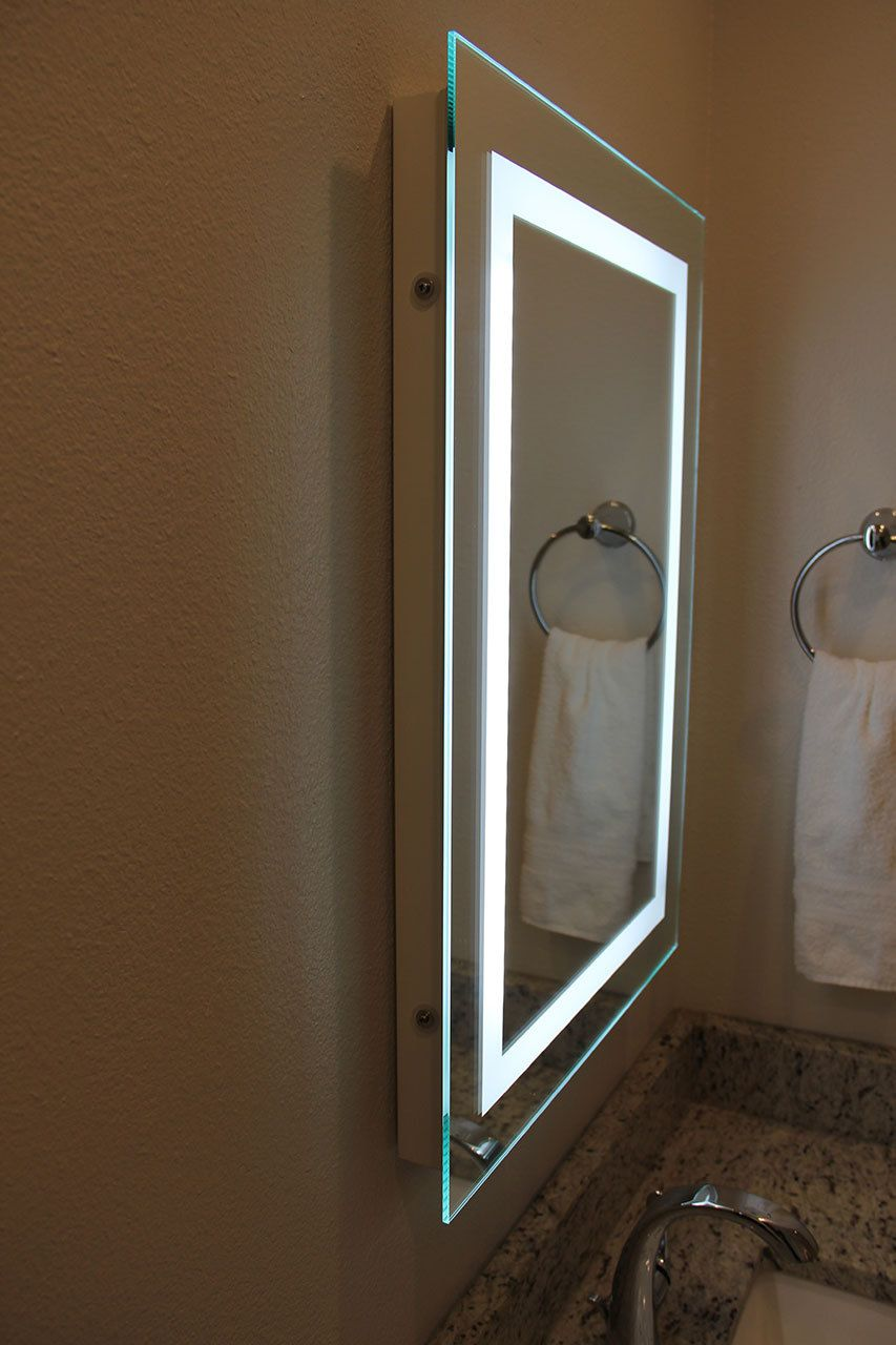 illuminated bathroom mirrors led led bordered illuminated mirror i 18862