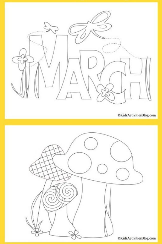3 Spring March Coloring Pages for Kids | Coloring pages ...