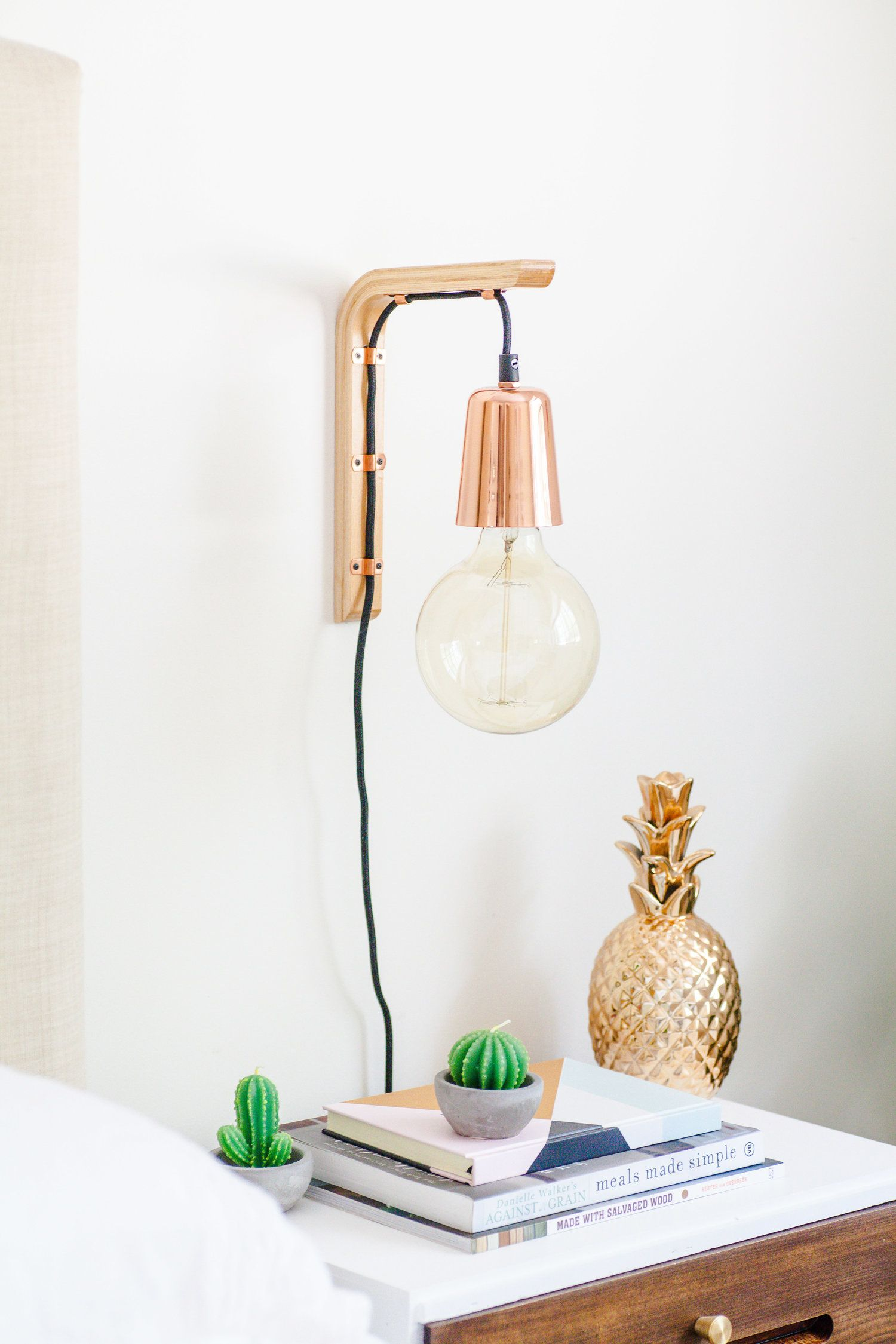 How To Make A Modern Hanging Wooden Wall Bracket Light The Whimsical Wife Cook Create Decorate Bracket Lights Diy Pendant Light Diy Decor