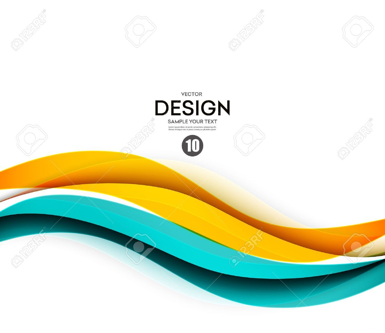 Abstract smooth color wave vector. Curve flow blue and orange motion illustration ,