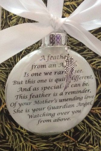 memorial christmas ornament a feather from an angel is one we