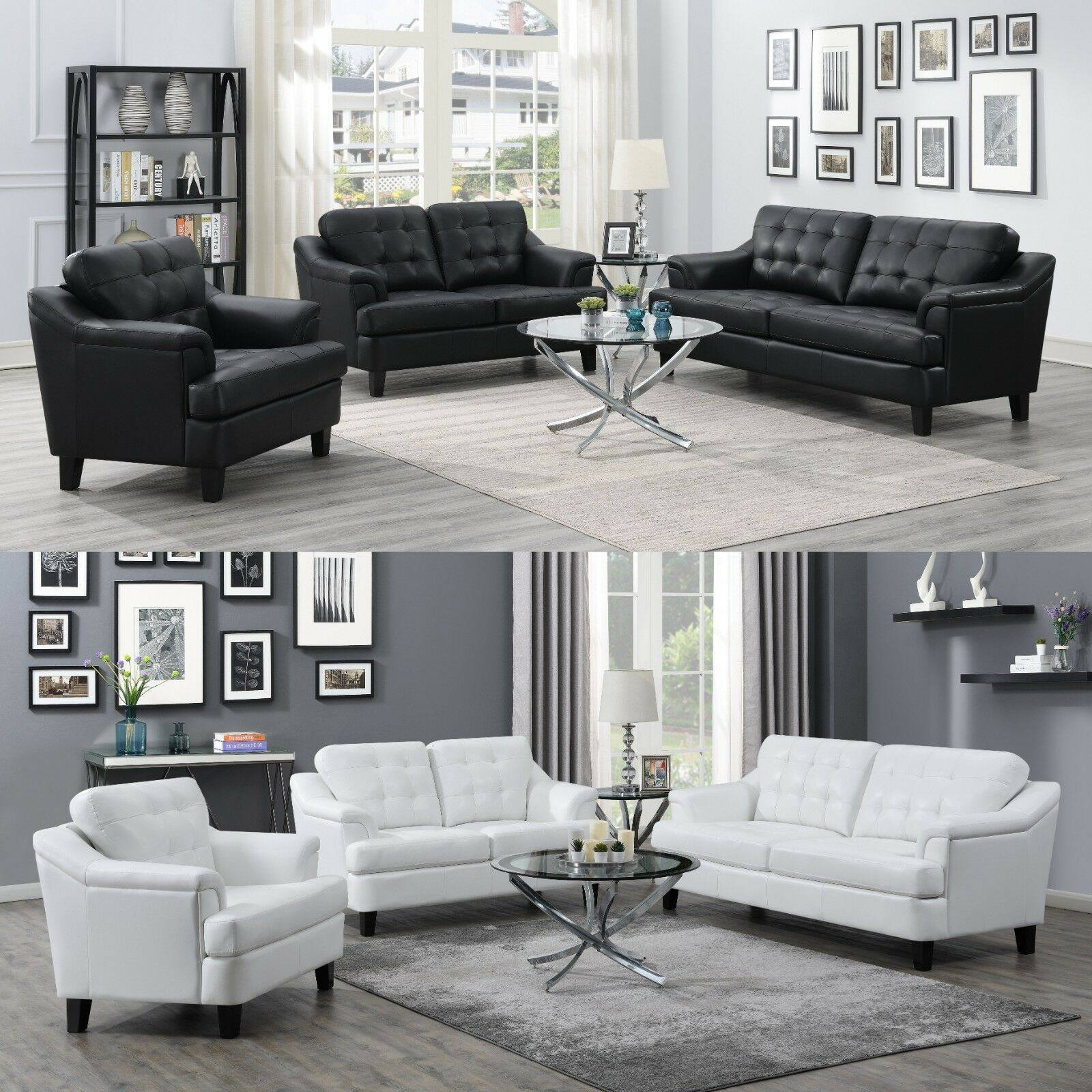 Modern 3 Piece Sofa Loveseat Chair Set Black Or White Performance Faux Leather Sofa Set Ideas Of Sofa Set Sofa Set Couch And Chair Set White Leather Sofas