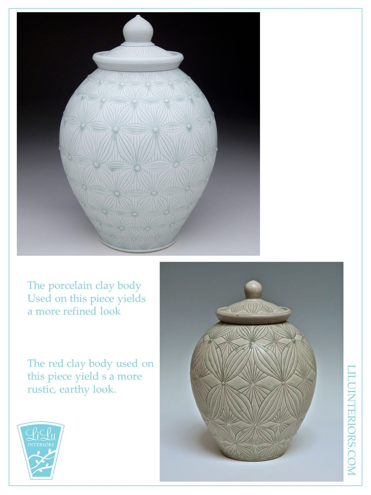 Porcelain clay gives a more elegant look while red clay produces a more rustic one! Check out more here and find what fits your home!  #interiordesign #interior #design #interiorinspo #designinspo #inspiration #interiordesigner #liluinteriors #lilumpls #lilu #mpls #minneapolis #pottery #porcelain #porcelainpottery #handmadepottery #handmade #handcrafted #handcraftedpottery #potteryinspo #art #artinspo