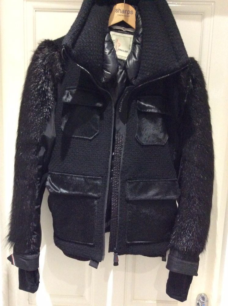 MONCLER Ladies Black Ski Jacket Size 14 (UK) Beaver Fur