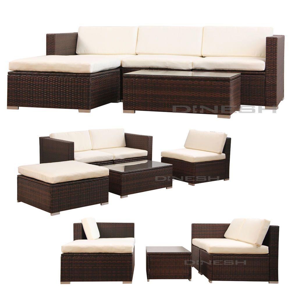 (6034) Poly Rattan Sitzgruppe Lounge Gartenmöbel Gartengarnitur  Sitzgarnitur B