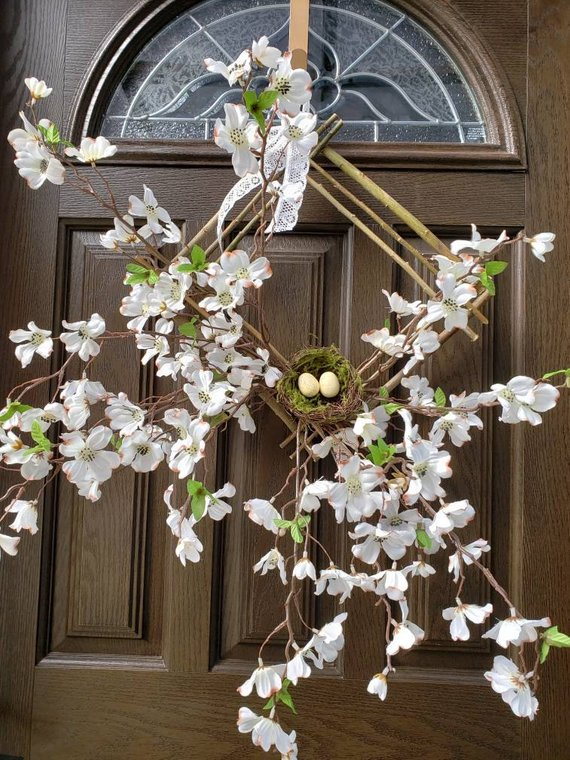 Photo of Spring wreaths for front door wreaths Spring flower wreaths White square wreaths Summer wreaths Farmhouse wreaths Spring square wreaths