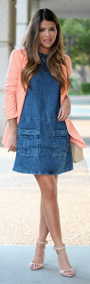 Coral On Denim Outfit Idea by The Girl From Panama