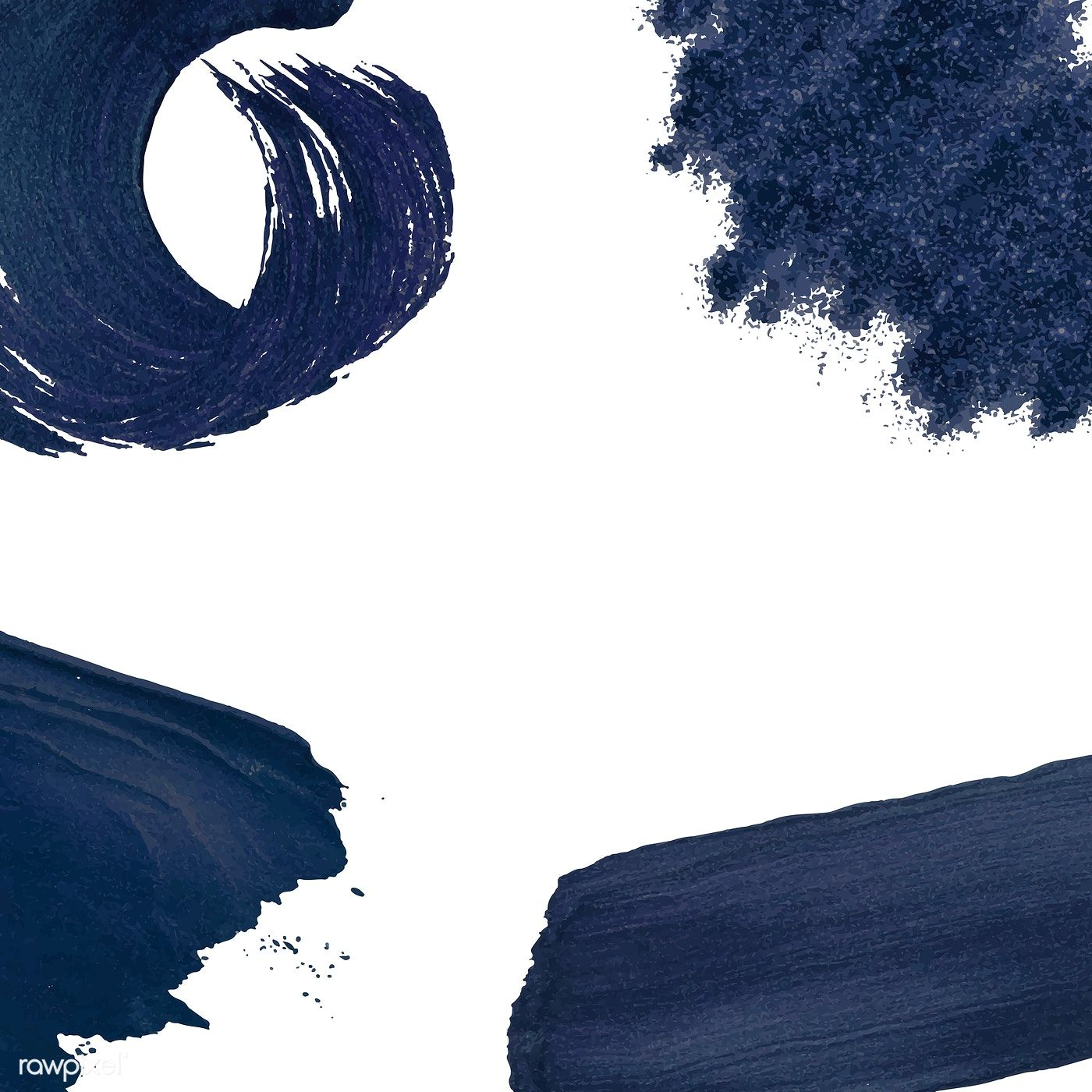 Set Of Navy Blue Brush Strokes Vector Free Image By Rawpixel Com