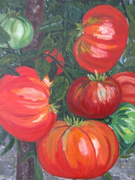 Tableau peinture tomate jardin nature legumes fruits peinture a l 39 huile tomates tableaux - Tableau legumes de saison ...