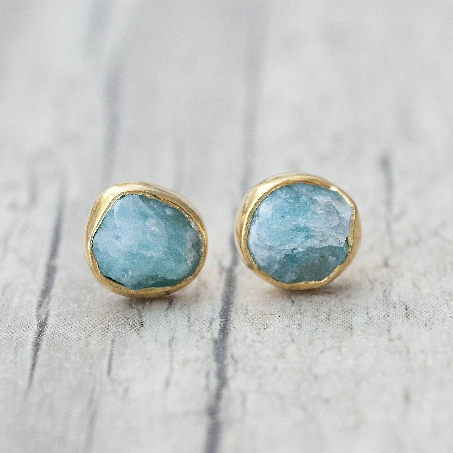 Blue And Gold Raw Amazonite Earrings Men Women Small Stud