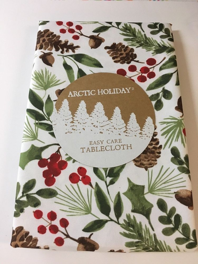 Arctic Holiday Holly Berry Christmas Print Tablecloth Various Sizes Shapes  New