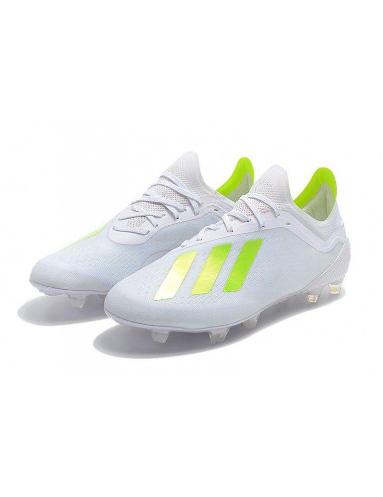 4fc48b49241 Botines De Futbol Adidas 2018 - Adidas X 18.1 FG - Blanco Verde - Terreno  Firme - Talla 39-45