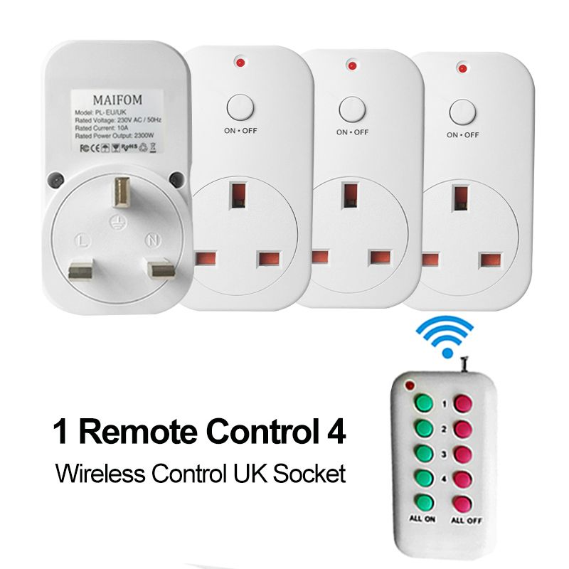 UK Plug RF Wireless Remote Control Socket Power Outlet RF433